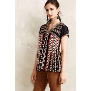 Anthro Chevron Embroidered Top